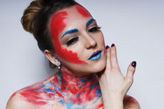 Fashion model girl portrait with colorful make up. Girl portrait with colorful make up royalty free stock photo
