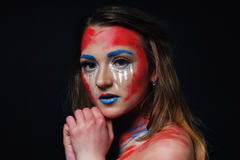 Fashion model girl portrait with colorful make up royalty free stock images