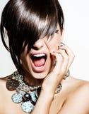 Fashion Model Girl Portrait. Emotions. Trendy Hair Style Royalty Free Stock Photos