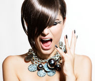 Fashion Model Girl Portrait. Emotions. Trendy Hair Style Royalty Free Stock Images