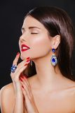 Fashion model girl portrait With red lips And blue Royalty Free Stock Photography