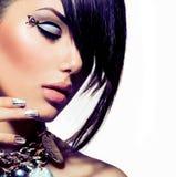 Fashion Model Girl Portrait. Trendy Hair Style Stock Photography