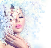 Fashion Model Girl with Snow Hairstyle Royalty Free Stock Image