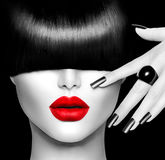 Fashion Model Girl. With Trendy Hairstyle, Makeup and Manicure Stock Photo