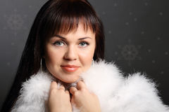 Fashion model girl in white fur Stock Photography