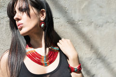 Fashion model glamour style accessory portrait Royalty Free Stock Photography