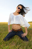 Fashion model on the grass Royalty Free Stock Image