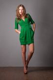 Fashion model in green dress Royalty Free Stock Photography
