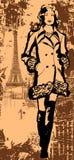 Fashion model on grunge background Royalty Free Stock Photography