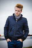 Fashion model guy portrait outdoors Royalty Free Stock Photography
