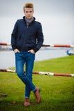 Fashion model guy portrait outdoors Royalty Free Stock Photo
