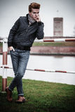 Fashion model guy portrait outdoors Royalty Free Stock Photos