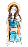 Fashion model in hat. Sketch woman. Vector illustration Stock Photo