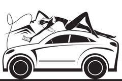 Fashion model having fun in car wash vector illustration