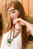 Fashion model - Hippie red-hair young woman Stock Photos