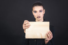 Fashion model holding banner Royalty Free Stock Photo