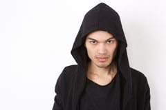 Fashion model in hood sweatshirt Stock Photo