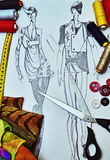 Fashion model illustration design. Cutting scissors, buttons, threads, measuring tape Stock Photo