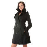 Fashion Model In Black Coat Royalty Free Stock Images