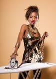 Fashion Model Ironing Tie Royalty Free Stock Image