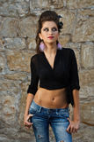 Fashion model in jeans Stock Photography