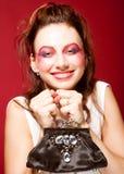 Fashion model with klatch Royalty Free Stock Photos