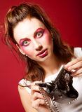 Fashion model with klatch Stock Photo
