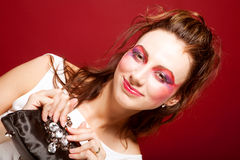 Fashion model with klatch Stock Images
