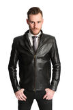 Fashion model in leather jacket stock images