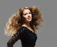 Fashion Model Long Hair, Woman Long hair Care and Treatment, Young Girl Waving Hairstyle stock images