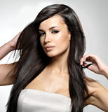 Fashion model with long straight hair. Royalty Free Stock Photos
