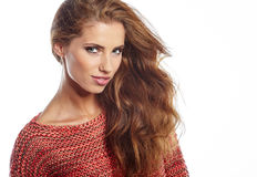 Fashion model with long straight hair. Fashion model posing at s Stock Photo