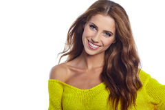 Fashion model with long straight hair. Fashion model posing at s Royalty Free Stock Images