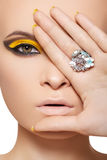 Fashion model, luxury glamour jewelry and make-up Royalty Free Stock Image
