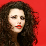 Fashion model with makeup and curly hair Stock Image
