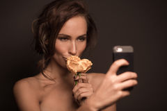 Fashion model making selfies stock photos