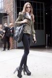 Fashion model Mila Krasnoiarova street style Stock Photos