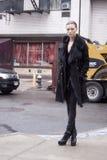 Fashion model Mila Krasnoiarova street style Royalty Free Stock Photo