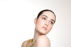 Fashion model with naked shoulders Royalty Free Stock Images