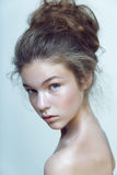 Fashion model original hairstyle clean face natural skin beauty highlight Royalty Free Stock Photography