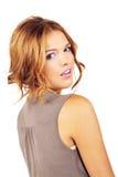 Fashion Model Over shoulder smiling stock photos