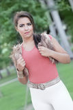 Fashion model in the park Royalty Free Stock Photos