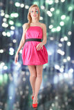 Fashion model in pink mini dress Royalty Free Stock Images