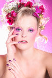 Fashion model in pink style Stock Photos