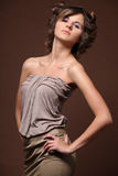 Fashion model, portrait. Fashion portrait of beautiful young blonde girl Stock Image
