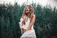 Fashion model portrait in boho style outdoor Stock Photos