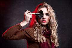 Fashion Model Portrait. Makeup. Hairstyle Stock Photography