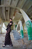 Fashion model posing in abandoned building Royalty Free Stock Photo