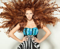 Fashion model posing in chiffon dress. Beautiful red-haired fashion model posing Stock Images