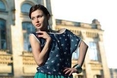 Fashion Model Posing On A City Street Royalty Free Stock Photos